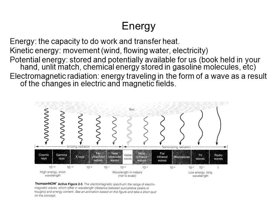 Energy Energy: the capacity to do work and transfer heat.