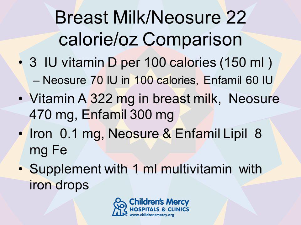 Breast Milk/Neosure 22 calorie/oz Comparison 3 IU vitamin D per 100 calories (150 ml ) –Neosure 70 IU in 100 calories, Enfamil 60 IU Vitamin A 322 mg in breast milk, Neosure 470 mg, Enfamil 300 mg Iron 0.1 mg, Neosure & Enfamil Lipil 8 mg Fe Supplement with 1 ml multivitamin with iron drops