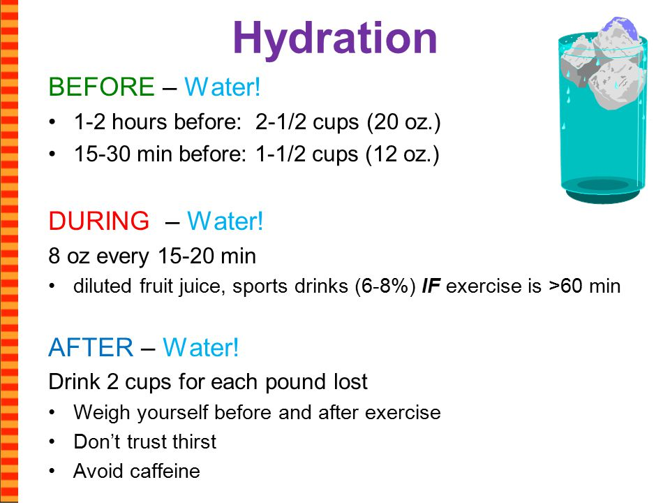 Hydration BEFORE – Water.