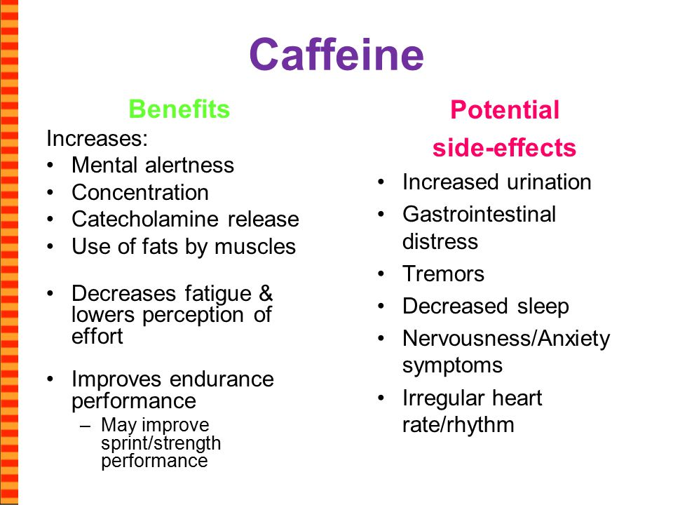 Caffeine Benefits Increases: Mental alertness Concentration Catecholamine release Use of fats by muscles Decreases fatigue & lowers perception of effort Improves endurance performance –May improve sprint/strength performance Potential side-effects Increased urination Gastrointestinal distress Tremors Decreased sleep Nervousness/Anxiety symptoms Irregular heart rate/rhythm