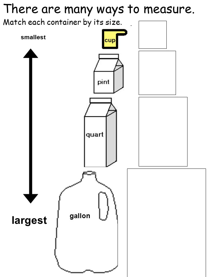 There are many ways to measure. cup gallon smallest largest Match each container by its size.