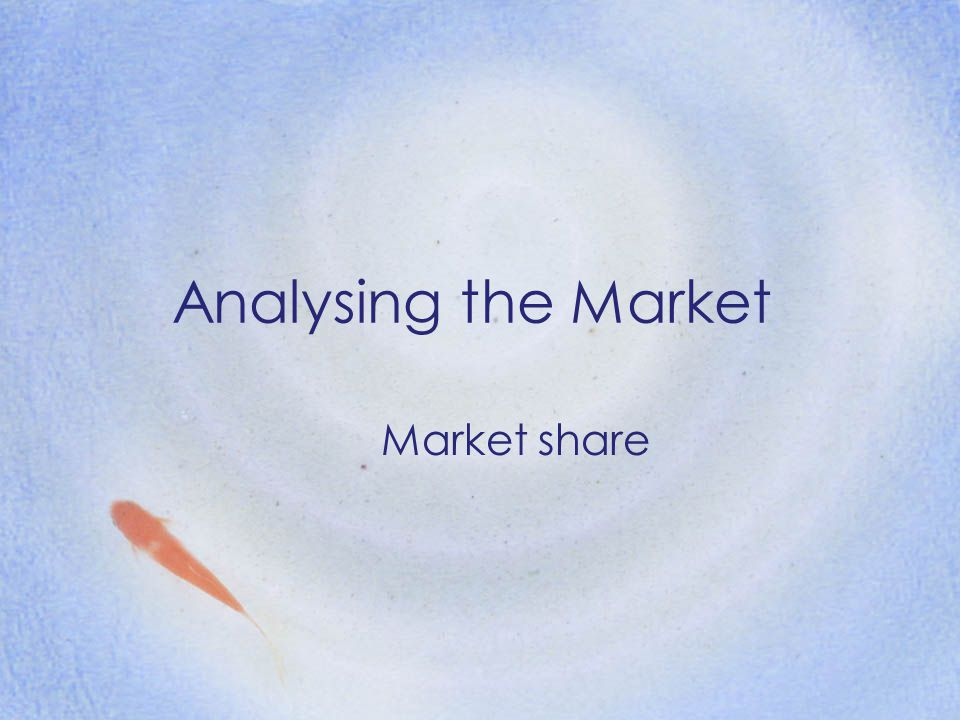 Analysing the Market Market share