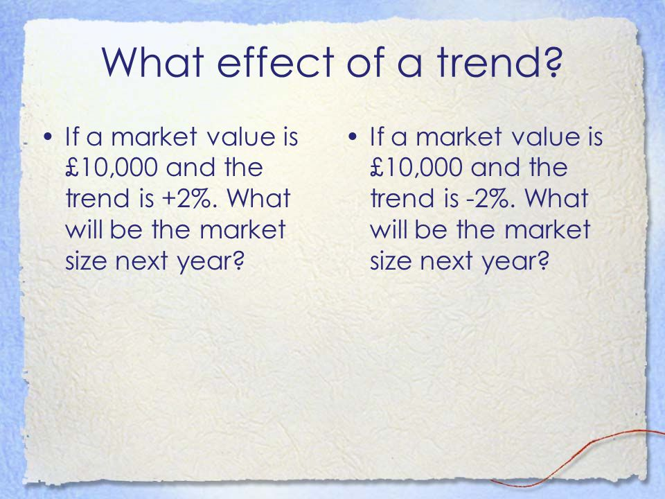 What effect of a trend? If a market value is £10,000 and the trend is +2%. What will be the market size next year? If a market value is £10,000 and th