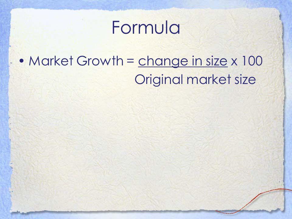 Formula Market Growth = change in size x 100 Original market size