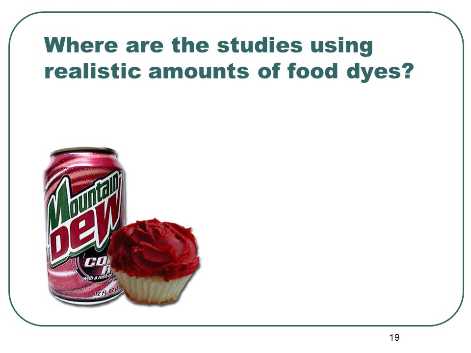 19 Where are the studies using realistic amounts of food dyes?