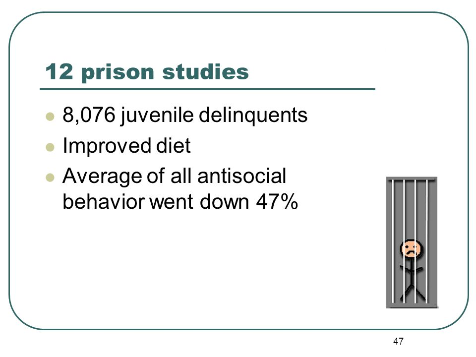47 12 prison studies 8,076 juvenile delinquents Improved diet Average of all antisocial behavior went down 47%