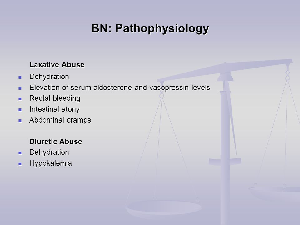 BN: Pathophysiology Laxative Abuse Laxative Abuse Dehydration Dehydration Elevation of serum aldosterone and vasopressin levels Elevation of serum aldosterone and vasopressin levels Rectal bleeding Rectal bleeding Intestinal atony Intestinal atony Abdominal cramps Abdominal cramps Diuretic Abuse Diuretic Abuse Dehydration Dehydration Hypokalemia Hypokalemia