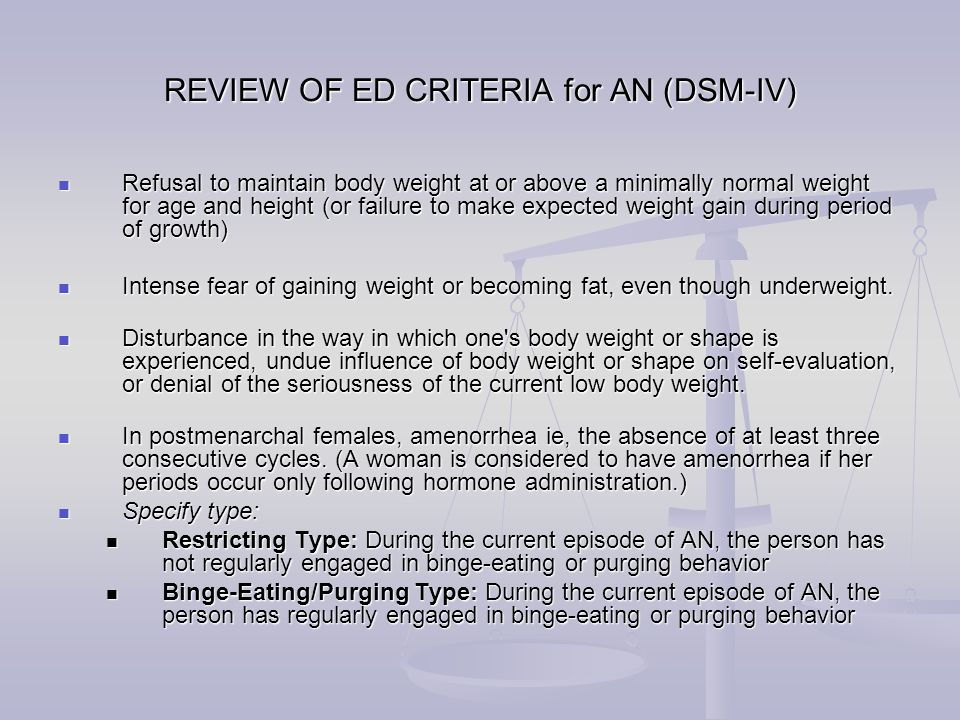 REVIEW OF ED CRITERIA for BN (DSM-IV) Recurrent episodes of binge eating characterized by both of the following:(1) Eating, in a discrete period of time (eg, within any 2-hour period), an amount of food that is larger than most would eat during a similar period of time and under similar circumstances.(2) A sense of lack of control over eating during the episode Recurrent episodes of binge eating characterized by both of the following:(1) Eating, in a discrete period of time (eg, within any 2-hour period), an amount of food that is larger than most would eat during a similar period of time and under similar circumstances.(2) A sense of lack of control over eating during the episode Recurrent inappropriate compensatory behavior in order to prevent weight gain, such as self-induced vomiting, misuse of laxatives, diuretics, enemas or other medications, fasting or excessive exercise.