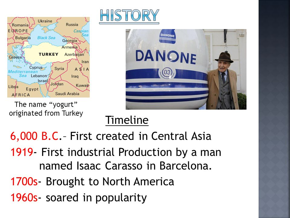 Timeline 6,000 B.C.– First created in Central Asia 1919- First industrial Production by a man named Isaac Carasso in Barcelona. 1700s- Brought to Nort