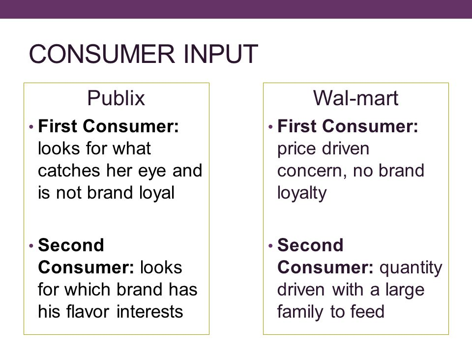 CONSUMER INPUT Publix First Consumer: looks for what catches her eye and is not brand loyal Second Consumer: looks for which brand has his flavor interests Wal-mart First Consumer: price driven concern, no brand loyalty Second Consumer: quantity driven with a large family to feed