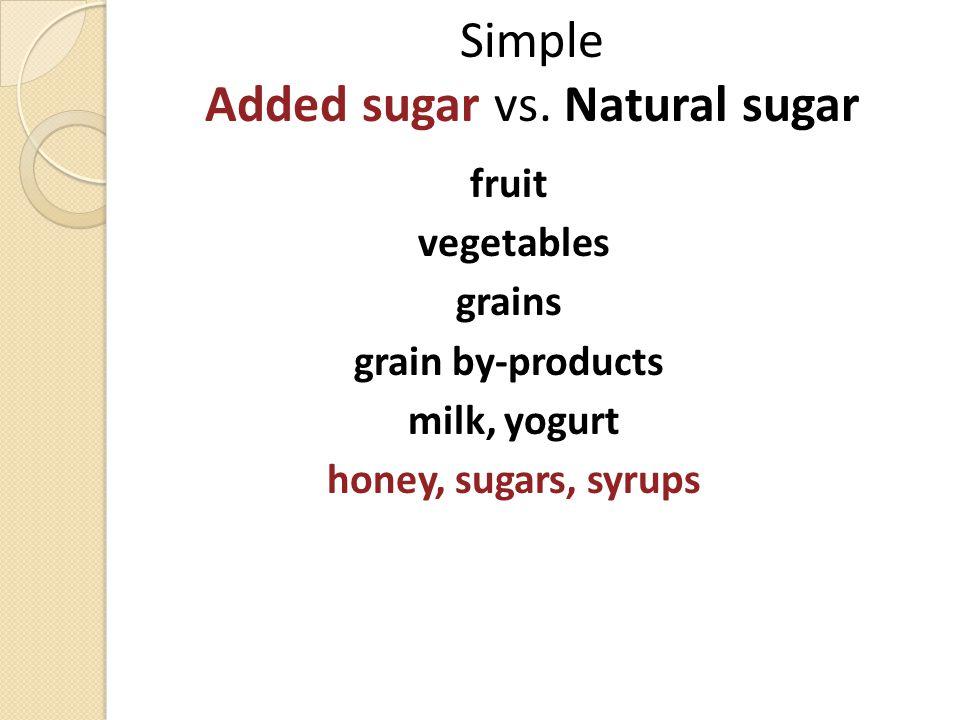 Simple Added sugar vs. Natural sugar fruit vegetables grains grain by-products milk, yogurt honey, sugars, syrups