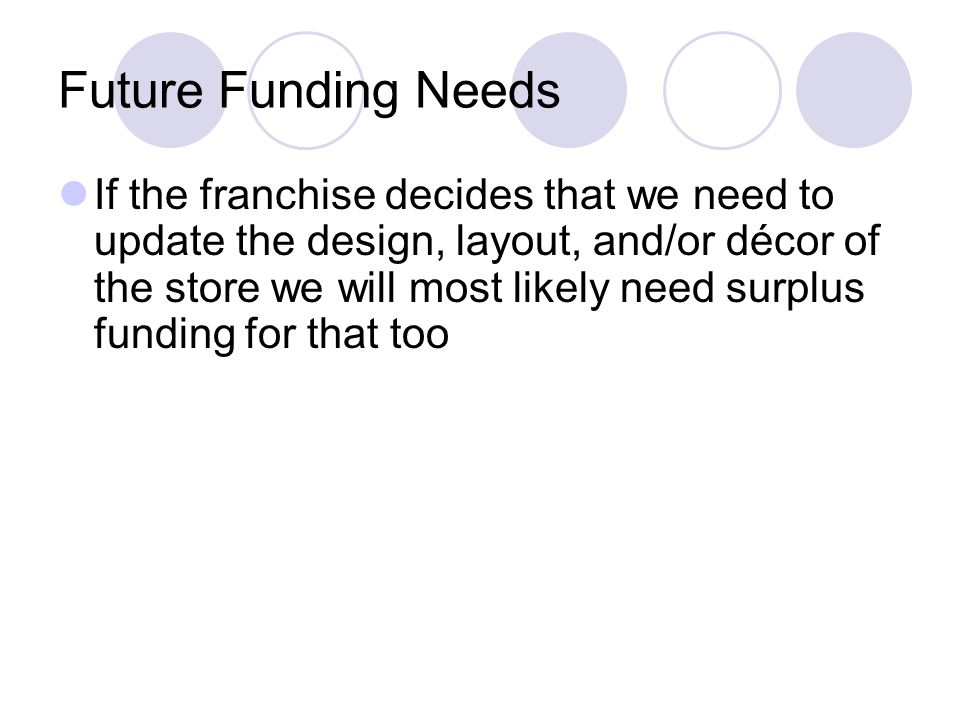 Future Funding Needs If the franchise decides that we need to update the design, layout, and/or décor of the store we will most likely need surplus fu