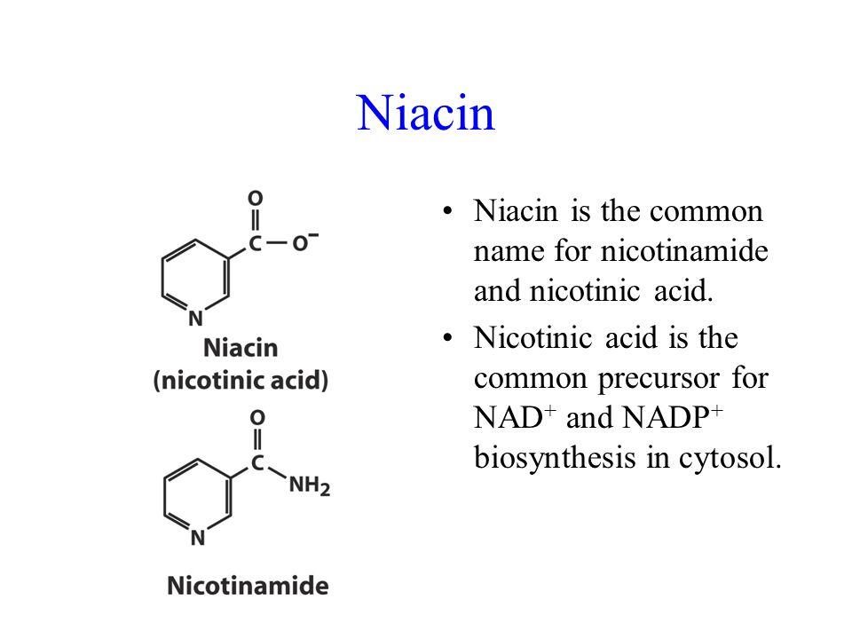 Niacin is the common name for nicotinamide and nicotinic acid.