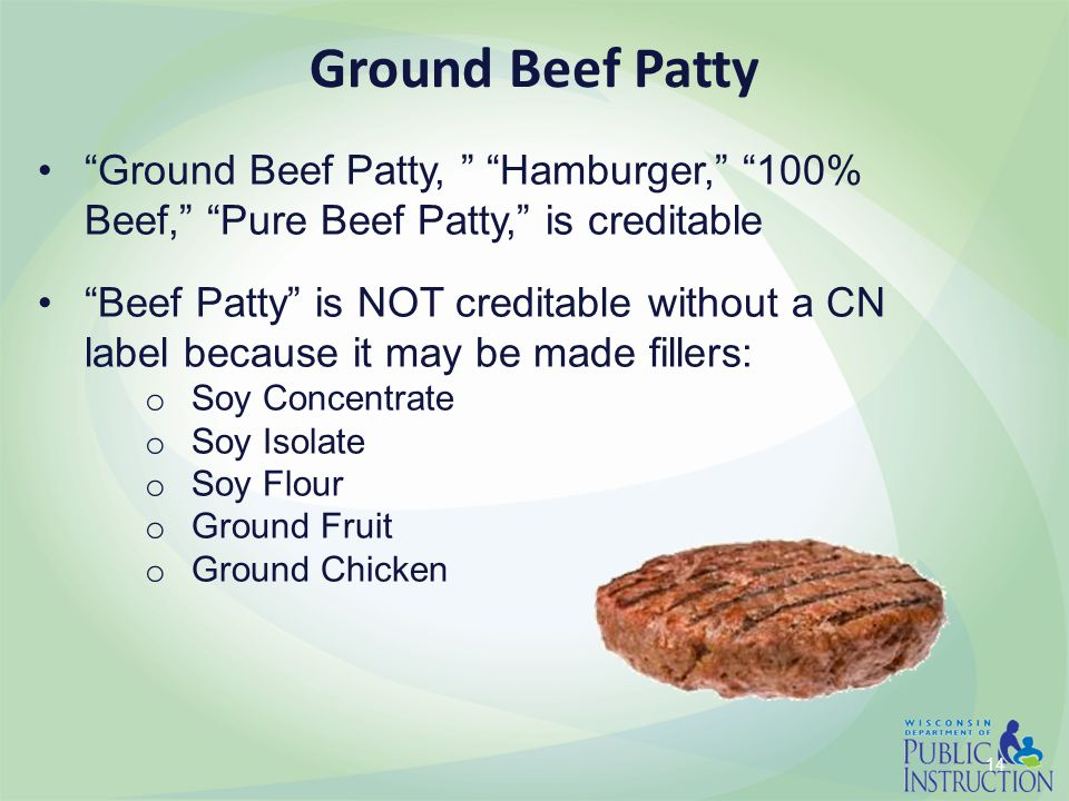 "14 Ground Beef Patty ""Ground Beef Patty, "" ""Hamburger,"" ""100% Beef,"" ""Pure Beef Patty,"" is creditable ""Beef Patty"" is NOT creditable without a CN labe"