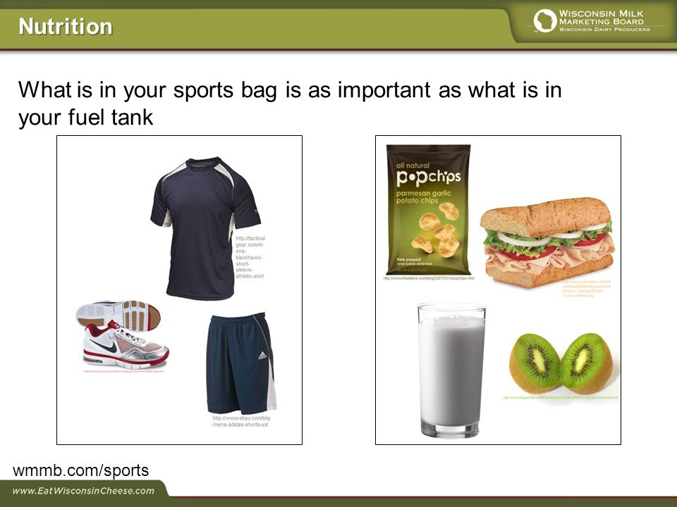 What is in your sports bag is as important as what is in your fuel tank wmmb.com/sports Nutrition