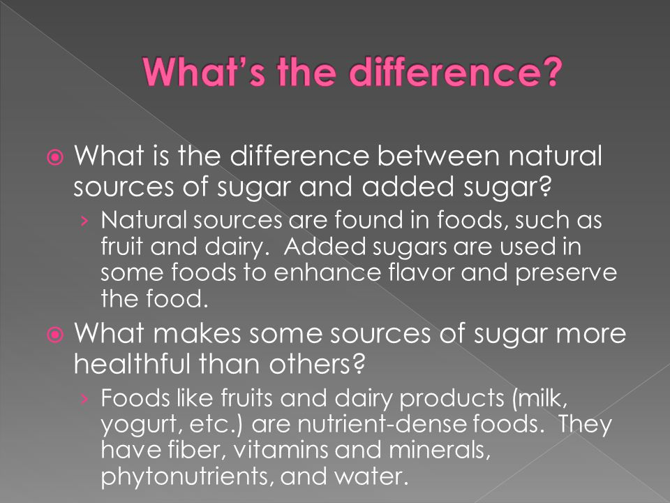  What is the difference between natural sources of sugar and added sugar.