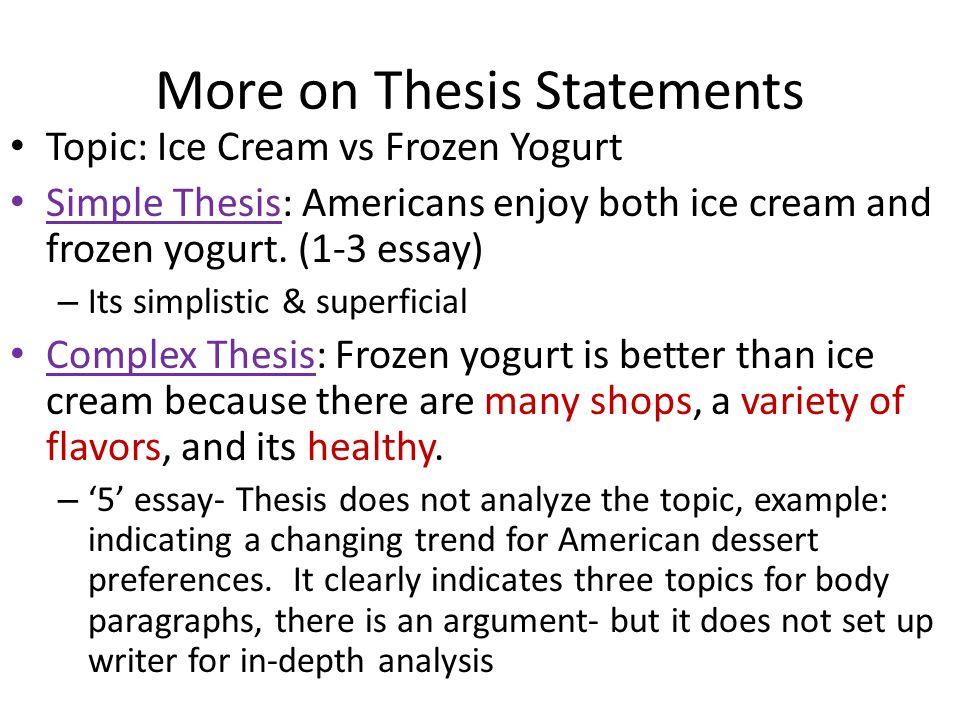 Topic: Ice Cream vs Frozen Yogurt Simple Thesis: Americans enjoy both ice cream and frozen yogurt.