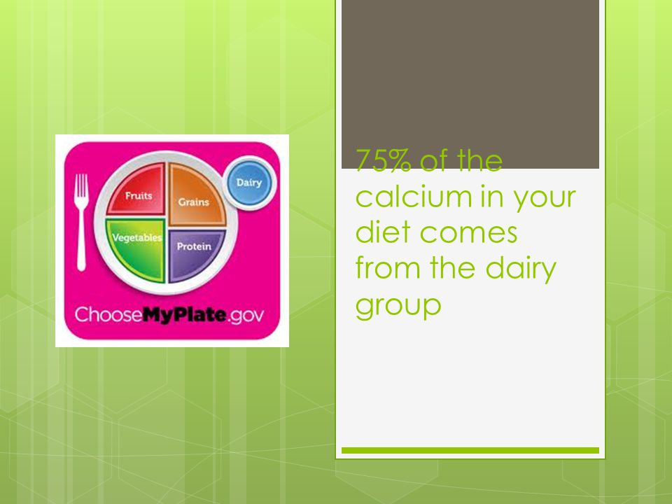 75% of the calcium in your diet comes from the dairy group