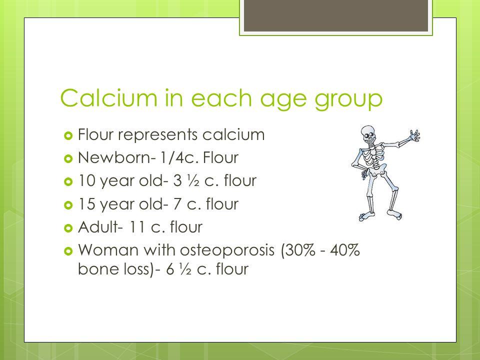 Calcium in each age group  Flour represents calcium  Newborn- 1/4c.
