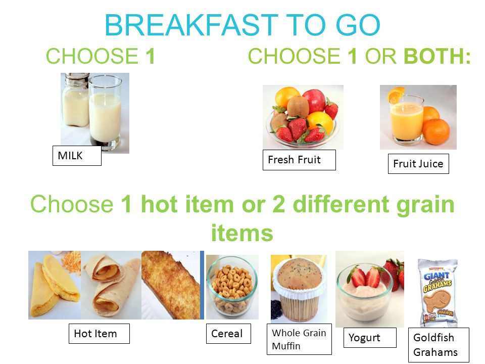 BREAKFAST TO GO CHOOSE 1 OR BOTH: MILK Fresh Fruit Fruit Juice CHOOSE 1 Choose 1 hot item or 2 different grain items Hot ItemCereal Whole Grain Muffin