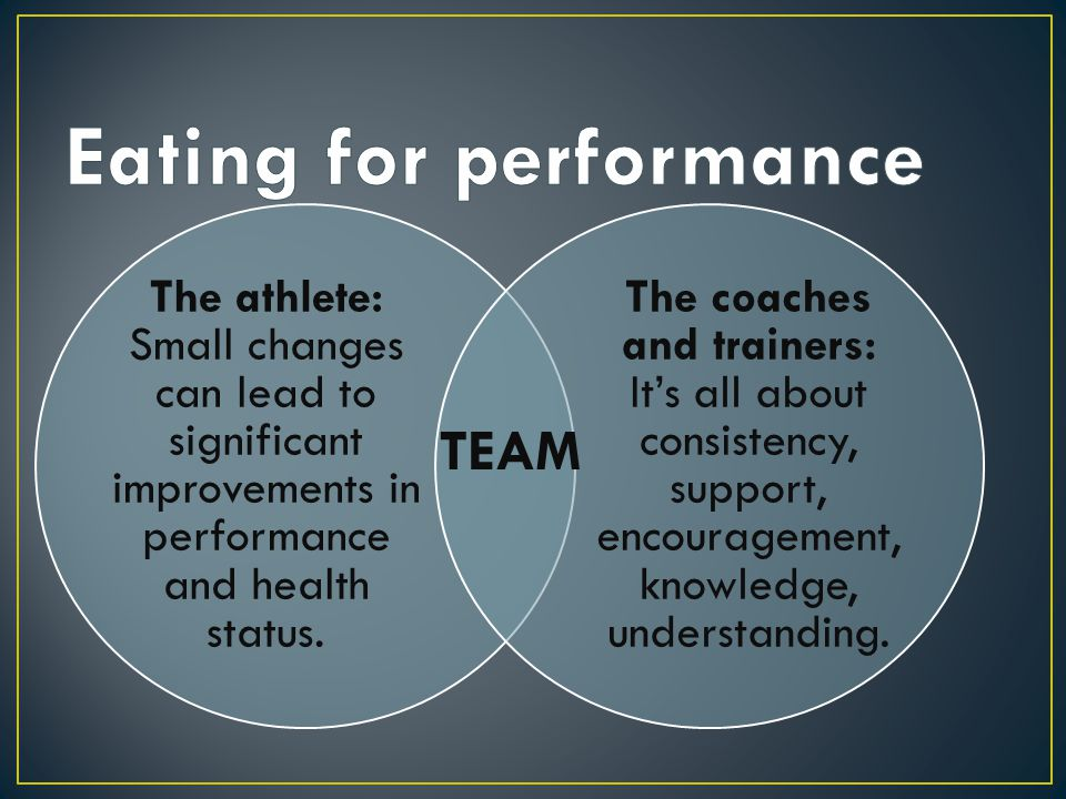 The athlete: Small changes can lead to significant improvements in performance and health status. The coaches and trainers: It's all about consistency