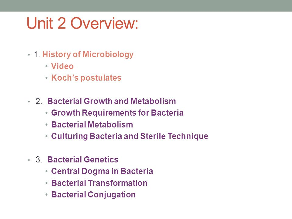 Unit 2 Overview: 1. History of Microbiology Video Koch's postulates 2.