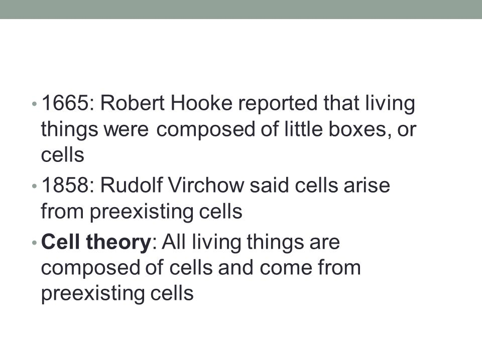 1665: Robert Hooke reported that living things were composed of little boxes, or cells 1858: Rudolf Virchow said cells arise from preexisting cells Cell theory: All living things are composed of cells and come from preexisting cells