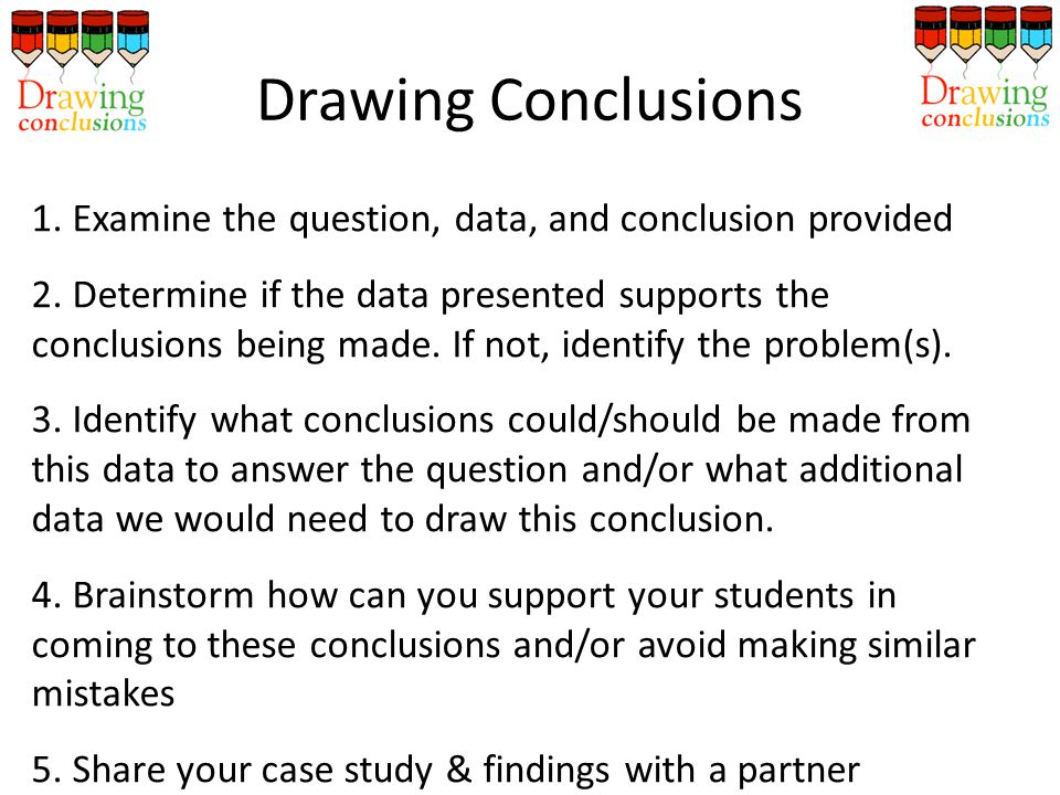 1.Examine the question, data, and conclusion provided 2.