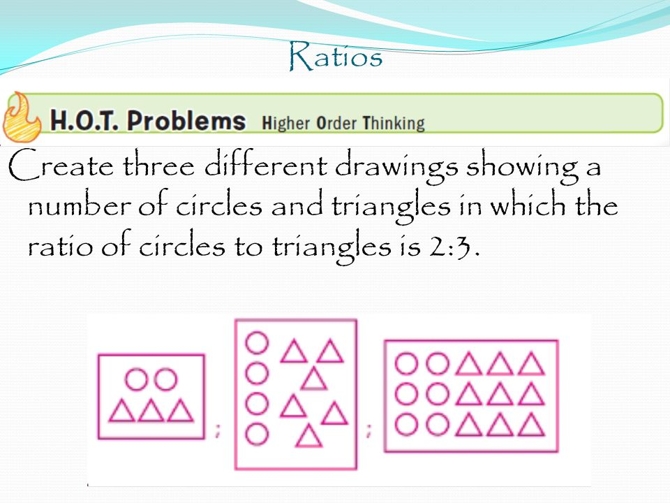 Ratios Create three different drawings showing a number of circles and triangles in which the ratio of circles to triangles is 2:3.