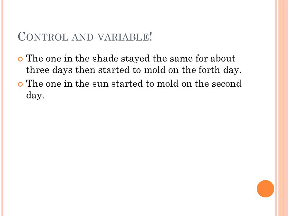 C ONTROL AND VARIABLE .