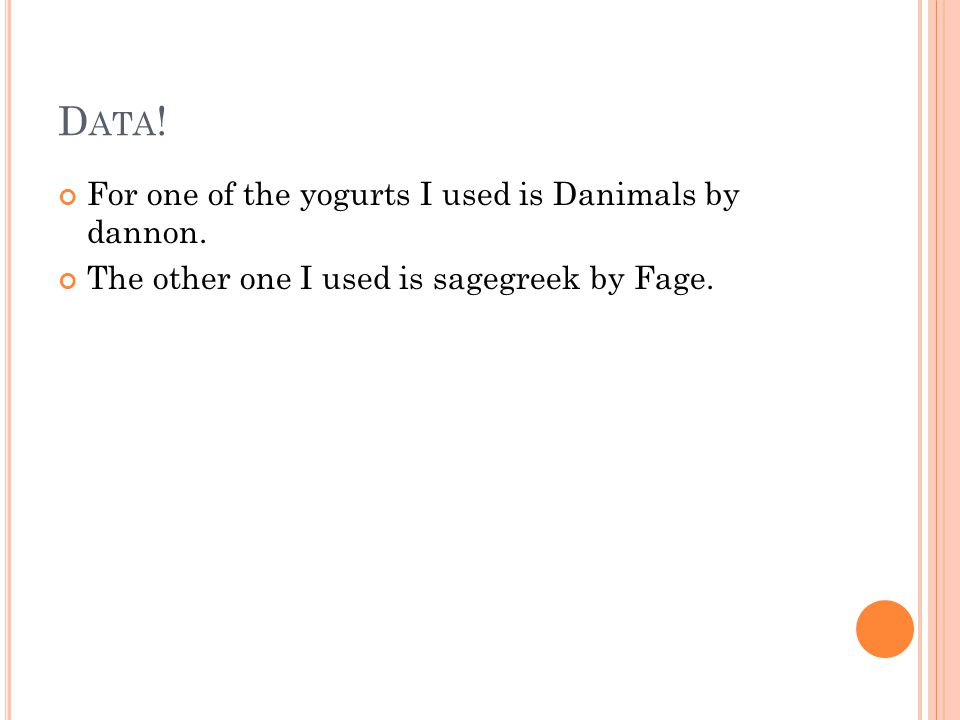 D ATA . For one of the yogurts I used is Danimals by dannon.