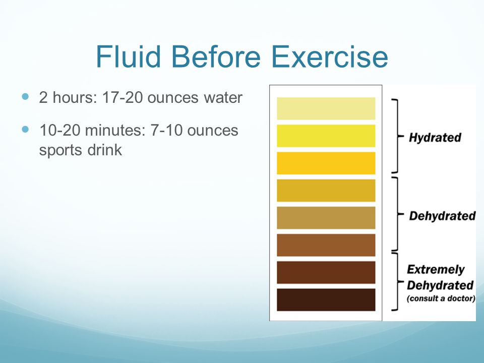 Fluid Before Exercise 2 hours: 17-20 ounces water 10-20 minutes: 7-10 ounces sports drink