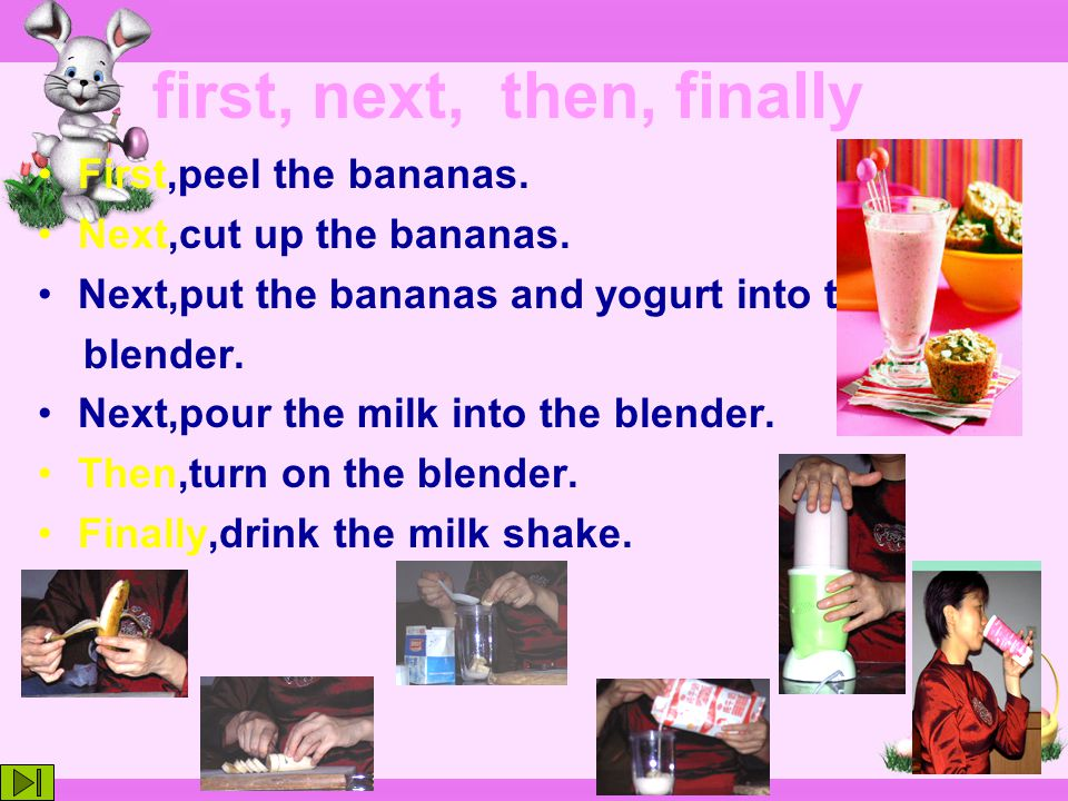 ___Turn on the blender. ___Cut up the bananas. ___Drink the milk shake.
