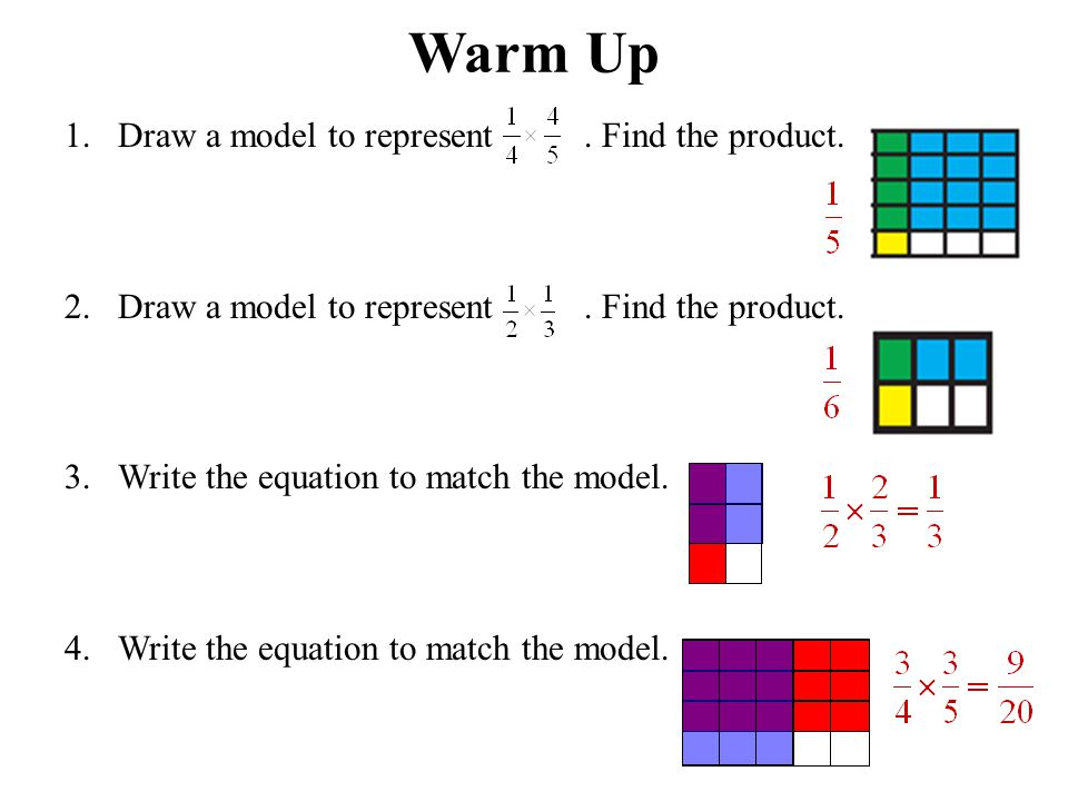 Warm Up 1.Draw a model to represent. Find the product.