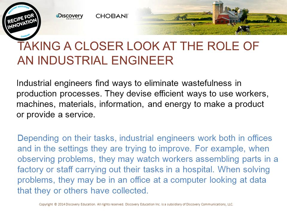 TYPES OF ENGINEERS Copyright © 2014 Discovery Education.
