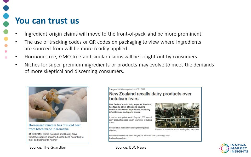 You can trust us Ingredient origin claims will move to the front-of-pack and be more prominent.