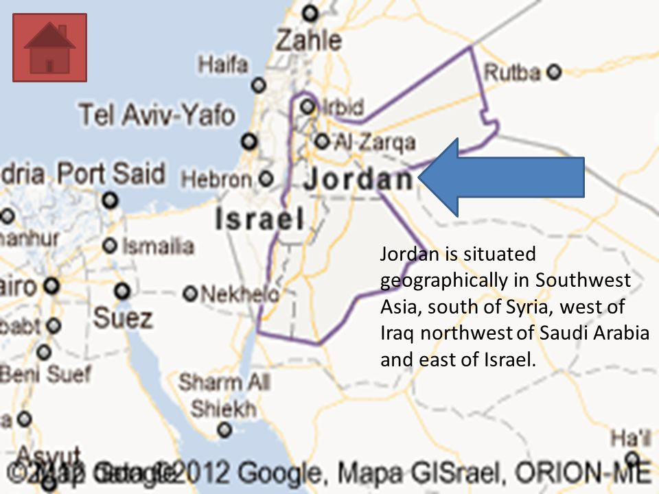 Jordan is situated geographically in Southwest Asia, south of Syria, west of Iraq northwest of Saudi Arabia and east of Israel.