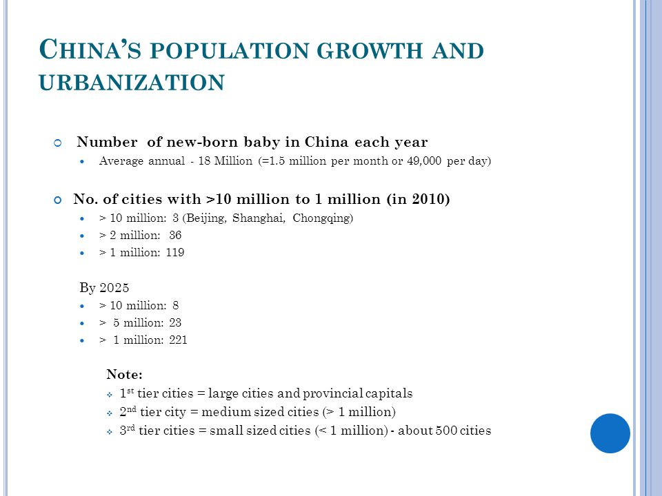 C HINA ' S POPULATION GROWTH AND URBANIZATION  Number of new-born baby in China each year Average annual - 18 Million (=1.5 million per month or 49,000 per day) No.