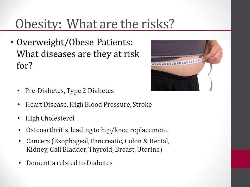 Obesity: What are the risks. Overweight/Obese Patients: What diseases are they at risk for.
