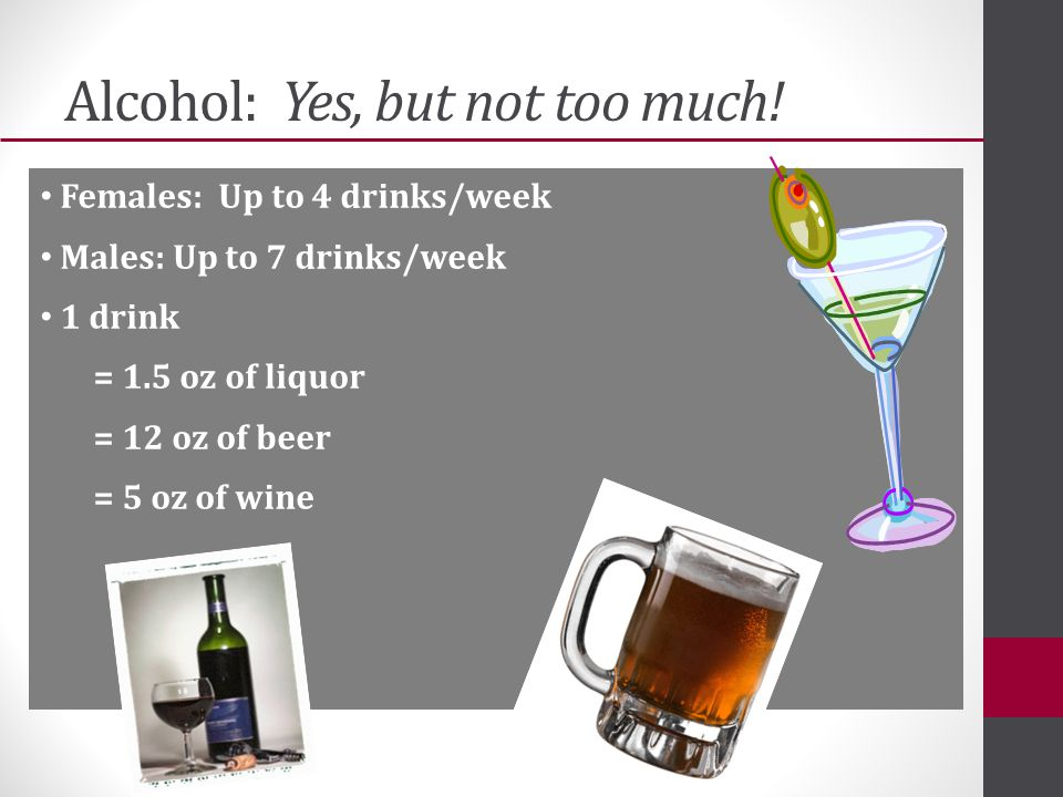 Alcohol: Yes, but not too much.