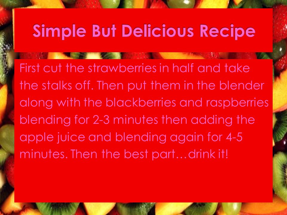 First cut the strawberries in half and take the stalks off.