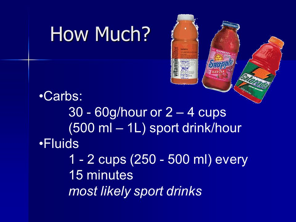 How Much? How Much? Carbs: 30 - 60g/hour or 2 – 4 cups (500 ml – 1L) sport drink/hour Fluids 1 - 2 cups (250 - 500 ml) every 15 minutes most likely sp