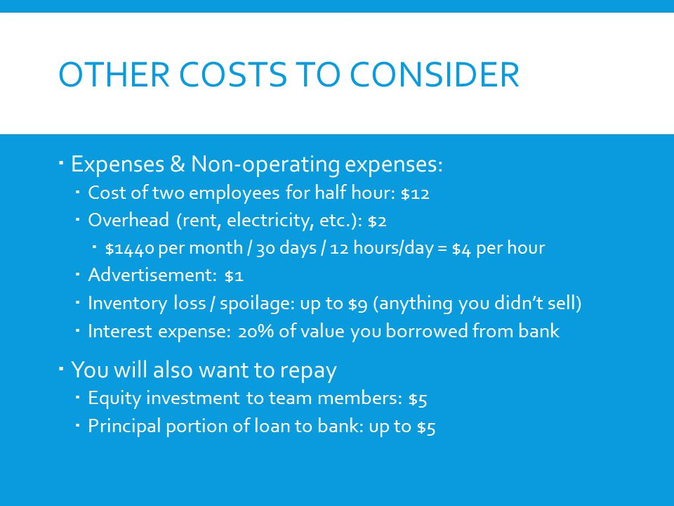 OTHER COSTS TO CONSIDER  Expenses & Non-operating expenses:  Cost of two employees for half hour: $12  Overhead (rent, electricity, etc.): $2  $1440 per month / 30 days / 12 hours/day = $4 per hour  Advertisement: $1  Inventory loss / spoilage: up to $9 (anything you didn't sell)  Interest expense: 20% of value you borrowed from bank  You will also want to repay  Equity investment to team members: $5  Principal portion of loan to bank: up to $5