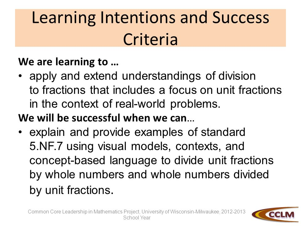 Learning Intentions and Success Criteria We are learning to … apply and extend understandings of division to fractions that includes a focus on unit f