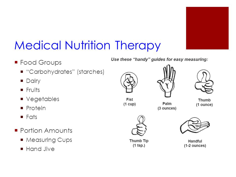 "Medical Nutrition Therapy  Food Groups  ""Carbohydrates"" (starches)  Dairy  Fruits  Vegetables  Protein  Fats  Portion Amounts  Measuring Cups"