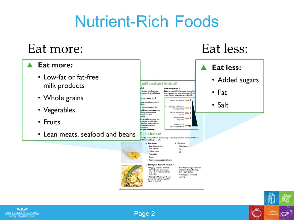 Nutrient-Rich Foods Eat more:Eat less: Page 2