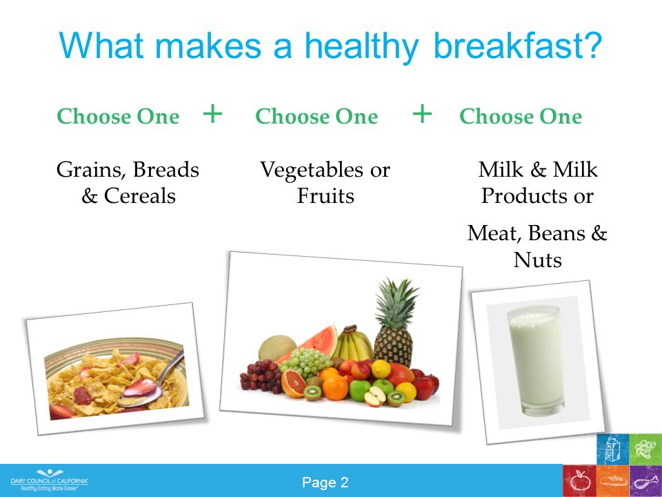 What makes a healthy breakfast.