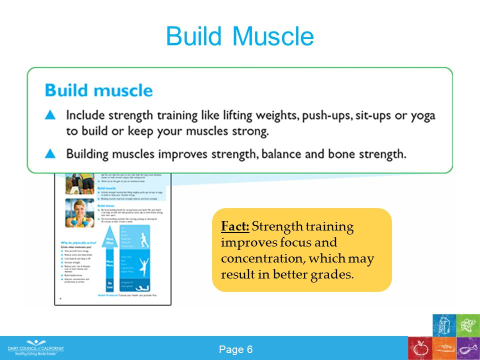 Build Muscle Fact: Strength training improves focus and concentration, which may result in better grades.