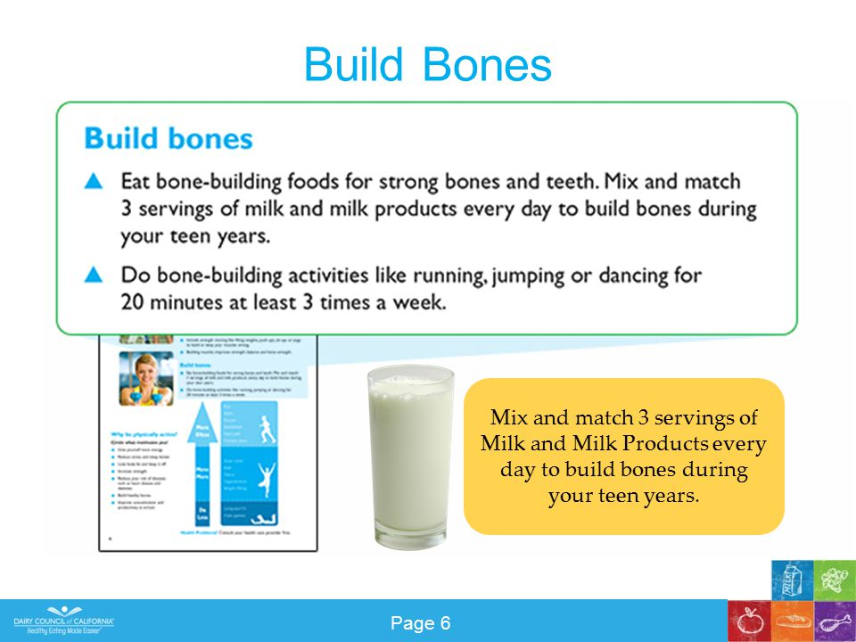 Build Bones Mix and match 3 servings of Milk and Milk Products every day to build bones during your teen years.