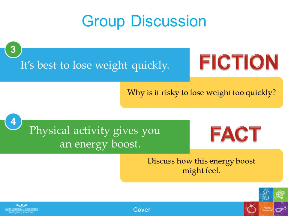 Why is it risky to lose weight too quickly. Group Discussion It's best to lose weight quickly.